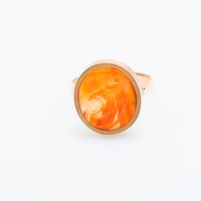 Bague en or jaune 14 carats (585 millièmes)...