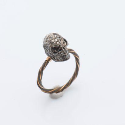 Bague Memento Mori en métal, l'anneau torsadé,...