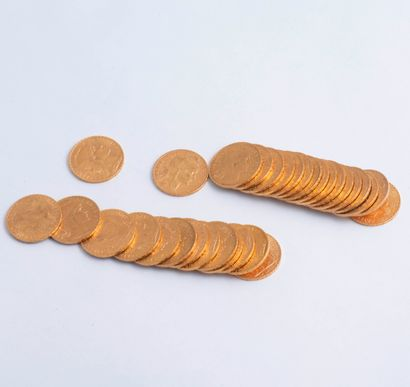 Lot de 31 pièces de 20 Francs or : dix-huit...