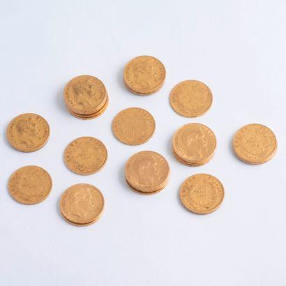 Lot de 30 pièces de 20 Francs or Napoléon...