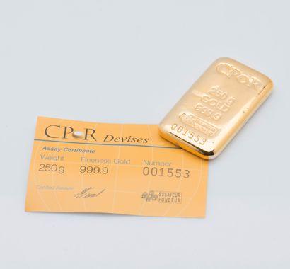 Lingotin d'or jaune n°001553. Bulletin d'essai...