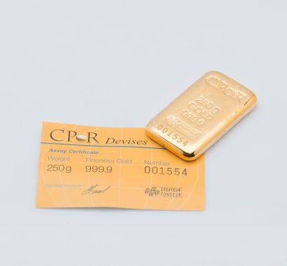 Lingotin d'or jaune n°001554. Bulletin d'essai...