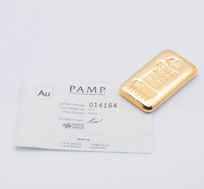 Lingotin d'or jaune n°014164. Bulletin d'essai...