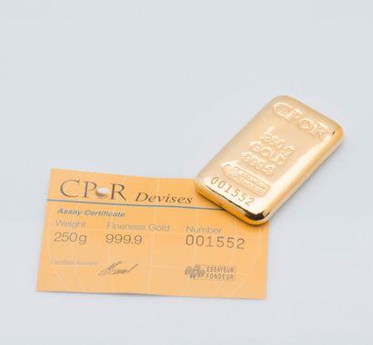 Lingotin d'or jaune n°001552. Bulletin d'essai...