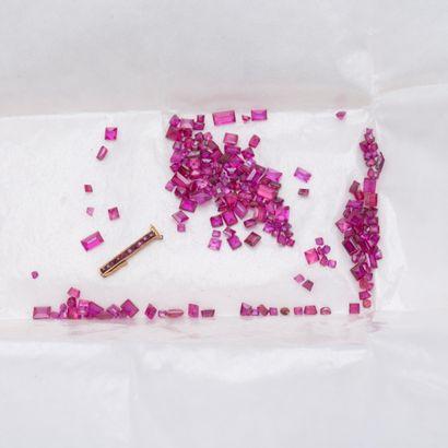 Lot de rubis sur papier, calibrés en carrés...