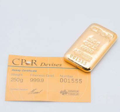 Lingotin d'or jaune n°001555. Bulletin d'essai...