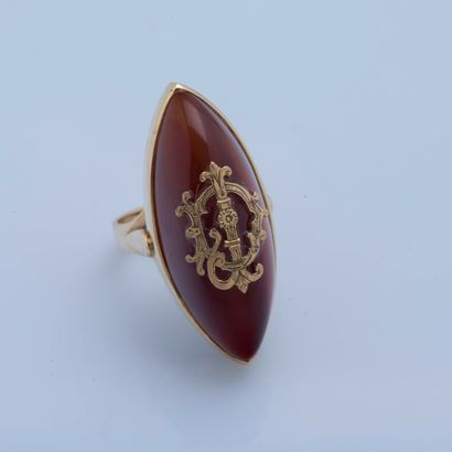 Bague navette en or jaune 18 carats (750...