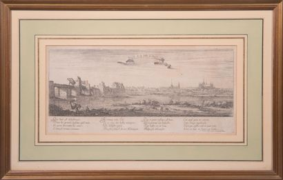 Lot de deux gravures :  - profil de la ville...