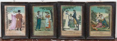 Lot de 4 gravures en couleurs  Les 4 saisons...
