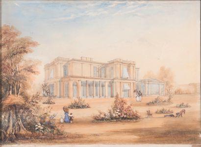 Ecole Anglaise du XIXème,  Demeure britannique...