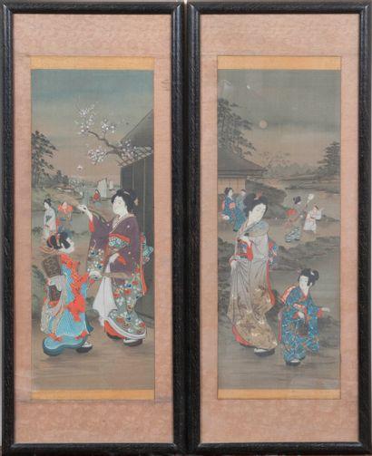 Lot de deux estampes japonaises  51 x 19...