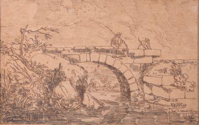 Ecole italienne du XIXème,  Vue d'un pont...