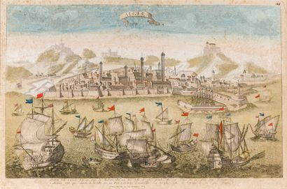 Port d'Alger  Gravure rehaussée  35 x 53...