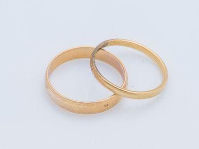 Deux alliances en or jaune 18 carats (750...