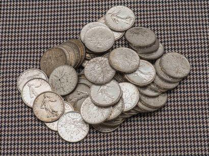 Lot de cinquante-huit pièces de 5 Francs,...