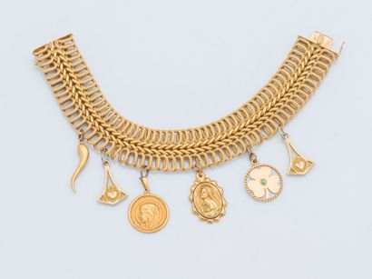 Bracelet en or jaune 18 carats (750 millièmes)...
