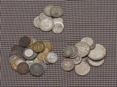Lot de pièces diverses en argent comprenant...