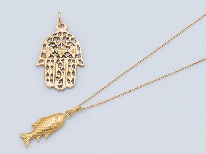 Chaine et pendentif en or jaune 18 carats...