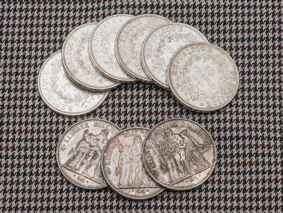 Lot de neuf pièces de 10 Francs Hercules...