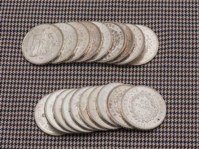 Lot de dix-neuf pièces de 50 Francs Hercule...