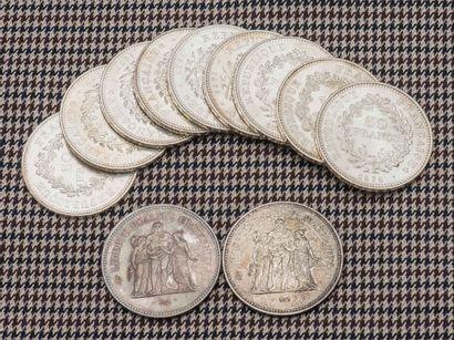 Lot de onze pièces de 50 Francs Hercules,...