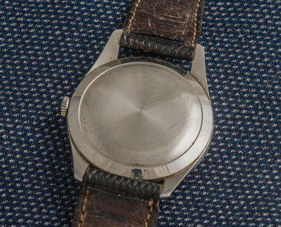 OMEGA Montre classique en acier, le boîtier rond à fond clippé, Cadran gris (jauni)...