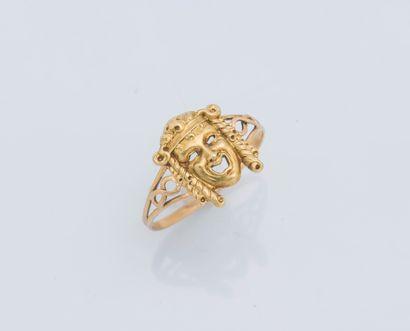 Bague en or jaune 18 carats (750 ‰) ornée...