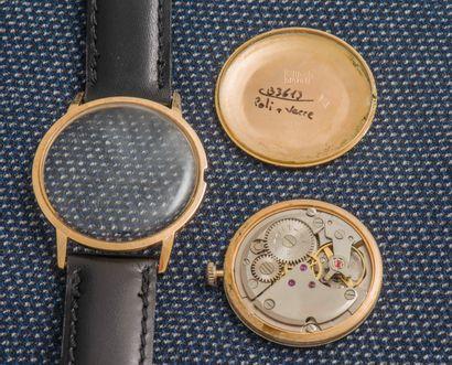 LIP Montre en or jaune 18 carats (750 ‰), boîtier rond à fond clippé (signé et numéroté)....