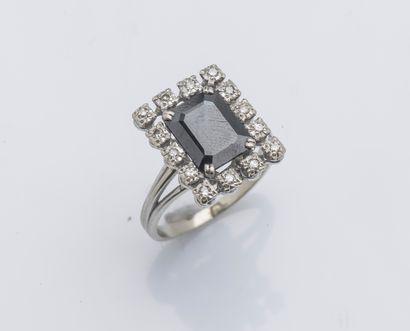 Bague en or gris 18 carats (750 ‰) ornée...