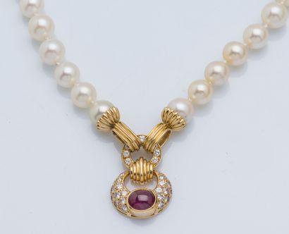 Collier de un rang de perles Akoya d'environ...