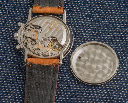 BLANCPAIN, vers 1995 Chronographe modèle Villeret. Boîtier rond en acier à fond clippé...