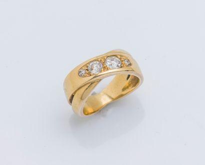 Bague en or jaune 18 carats (750 ‰) deux...