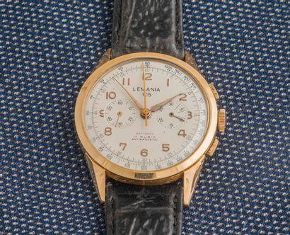 LEMANIA Chronographe 105 classique antichoc, le boîtier rond à fond clippé (non signé)...
