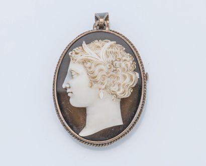 Importante broche pendentif en argent (800...