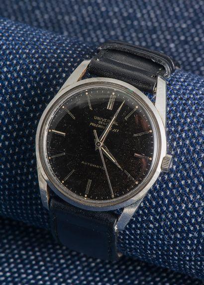 UNIVERSAL GENÈVE, vers 1955 Montre bracelet Polerouteur Jet, le boîtier rond en acier...