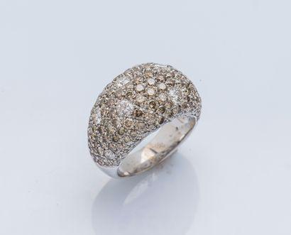 Bague boule en or gris 18 carats (750 ‰)...