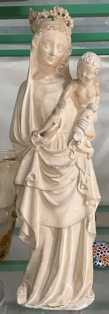 Vierge à l'enfant en plâtre  Reproduction...