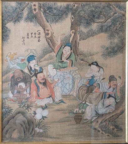 Chine,  Paire de peintures sur soie figurant...