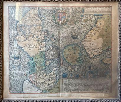 Carte du Royaume du Danemark  42 x 39 cm...