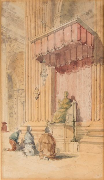 Ecole du XIXème siècle,  La génuflexion  Crayon...