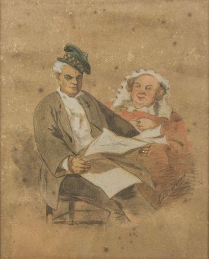 Ecole du XIXème siècle,  Couple lisant le...