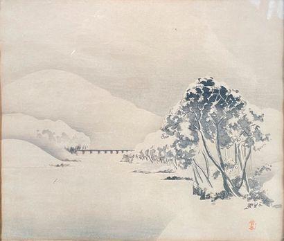 Japon,  Paysage enneigé  Estampe  23 x 24,5...