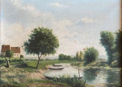 Lot comprenant :  - Paysage à l'étang animé,...