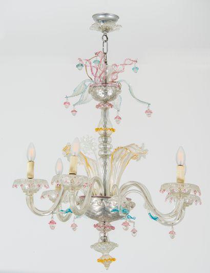 Lustre en verre de Murano à 6 bras de lumières,...