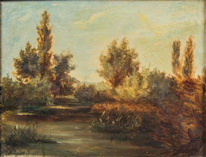 Ecole du XIXème,  Paysage  Huile sur toile...