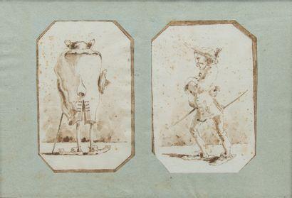 Ecole du XIXème siècle,  Caricatures  Deux...