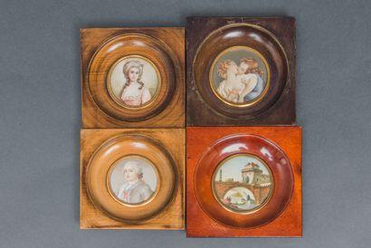 Lot de 4 miniatures encadrées comprenant...