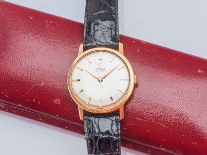 OMEGA Montre bracelet classique en or jaune 18 carats (750 ‰), boîtier rond monobloc,...