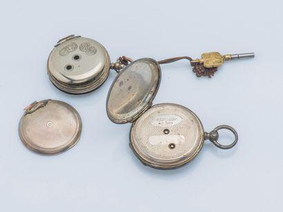 BOREL-COURVOISIER, vers 1860 Montre de poche en argent (925 ‰) le fond et le cache...