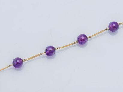 Bracelet chaîne or jaune 18 carats (750 ‰)...